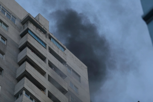 fire in fodacon building caused panic and traffic chaos