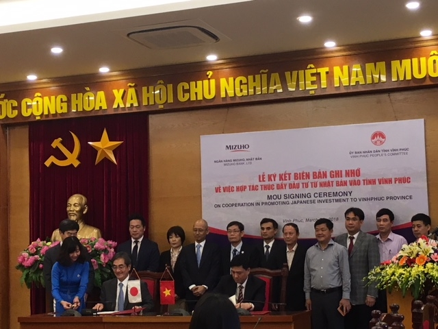 mizuho bank and vinh phuc province sign mou on investment promotion