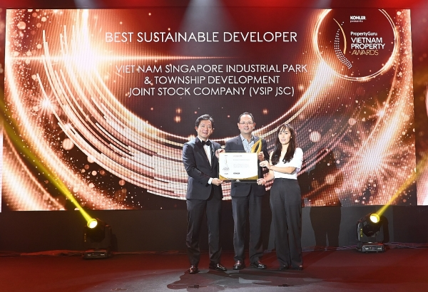 vsip jsc bags best sustainable developer title at vietnam property awards 2020
