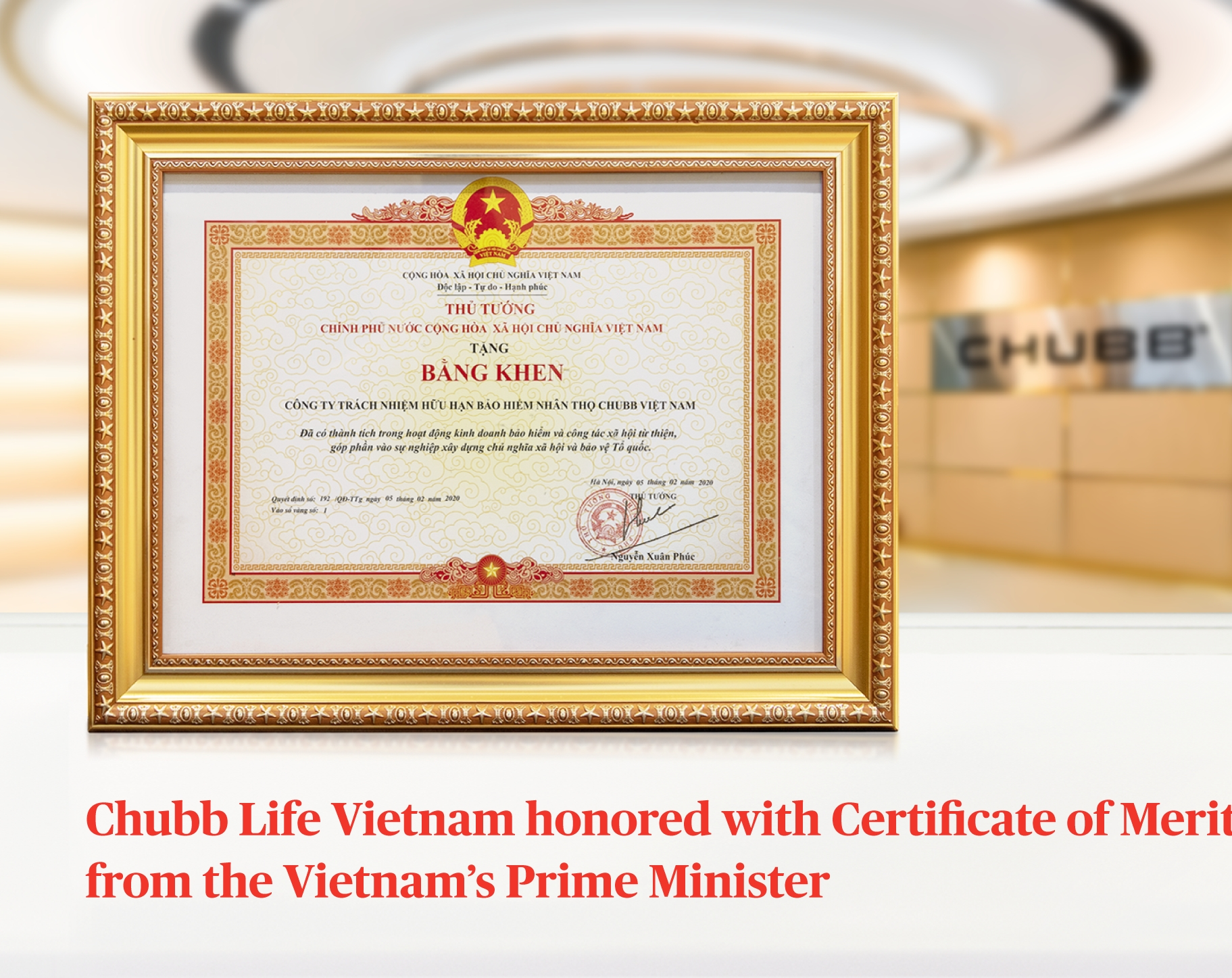 Chubb Life Vietnam honoured with Certificate of Merit from Vietnamese prime minister