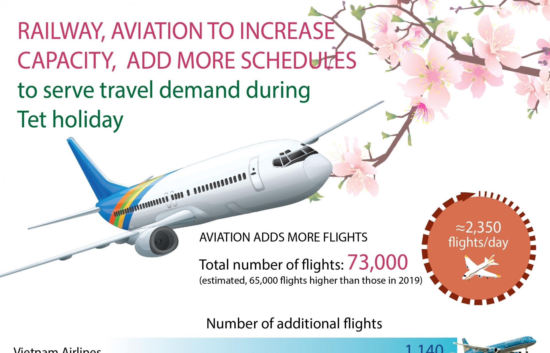 Railway, aviation to increase capacity to serve Tet (Infographics)