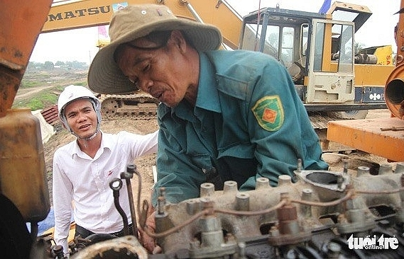 tet far from home for road construction workers