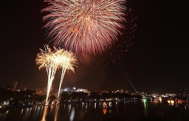 Fireworks light up sky on New Year Eve