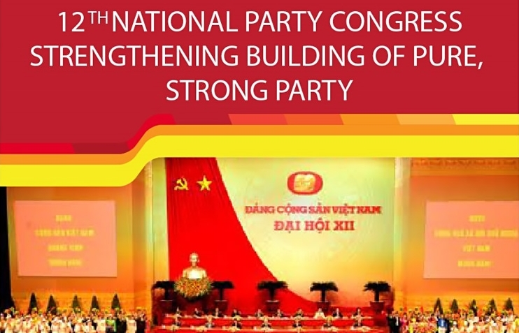 12th party congress strengthening building of pure strong party infographics