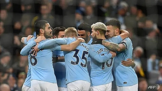 sterling hat trick takes city four clear