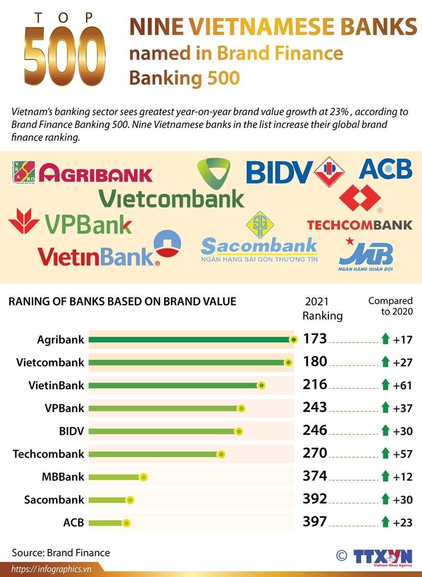 nine vietnam banks named in brand finance banking 500 infographics