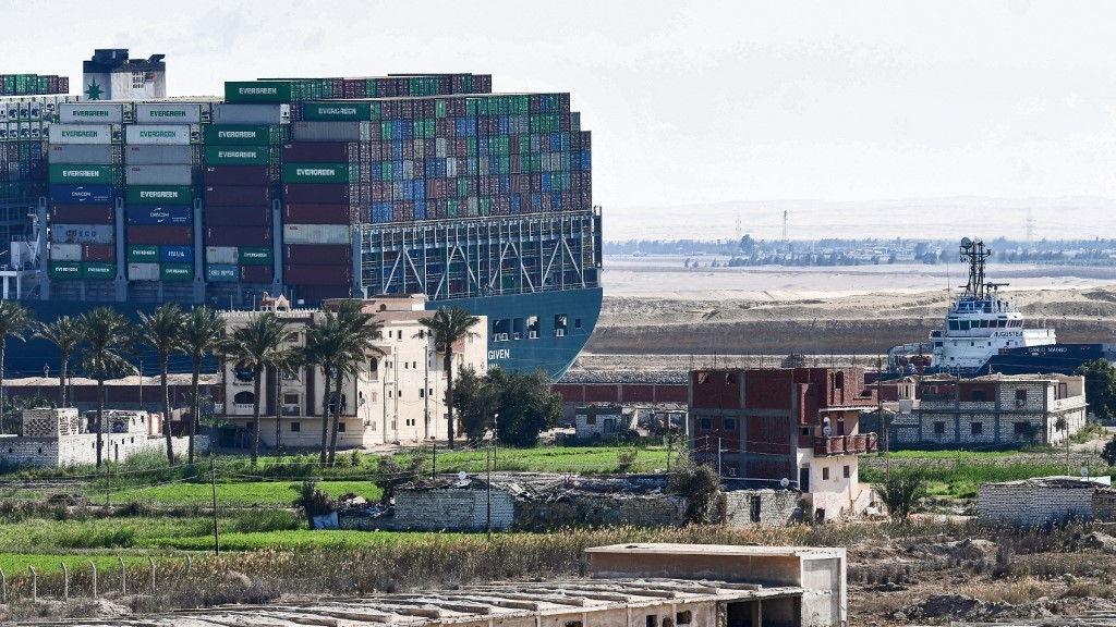 ever given ship in suez canal moved 80 in right direction