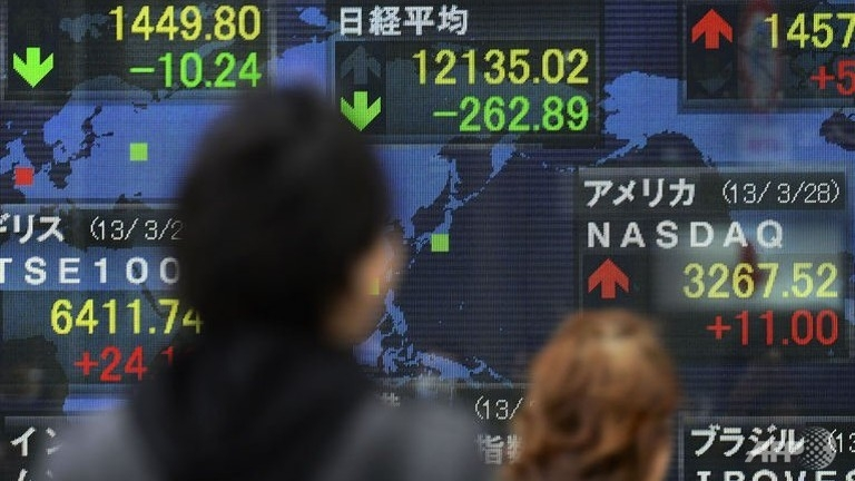 Asian markets up on China data, yen sinks further