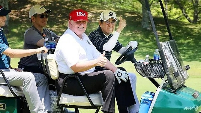 after sumo and golf trump and abe get down to business