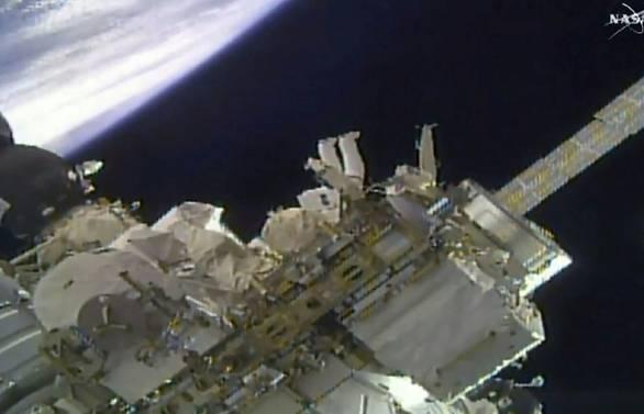NASA astronauts install high-def cameras during spacewalk