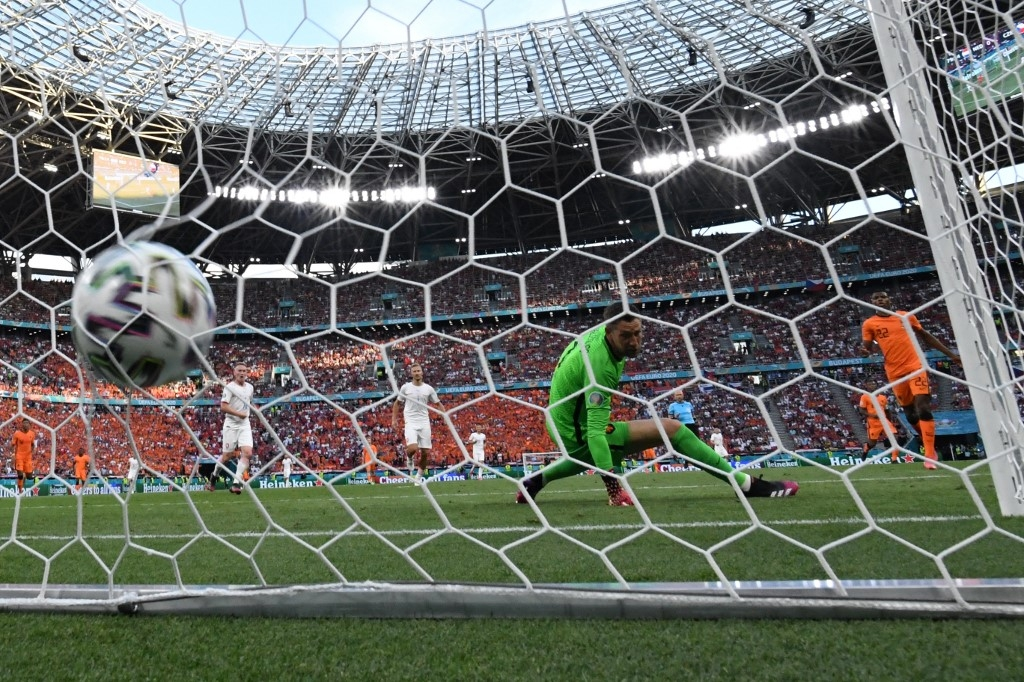 Netherlands' goalkeeper Maarten Stekelenburg concedes a second goal during the UEFA EURO 2020 round of 16 football match between the Netherlands and the Czech Republic at Puskas Arena in Budapest on June 27, 2021. Attila KISBENEDEK / AFP
