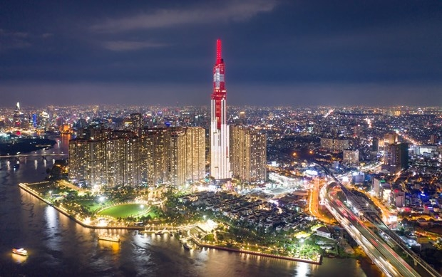 The Landmark81 in Ho Chi Minh City – Vietnam's tallest building – will be lit up with the colors of both Vietnam and Switzerland at 7.30 p.m.-8.30 p.m. on August 1, 2021. Photo courtesy of Swiss Embassy in Vietnam