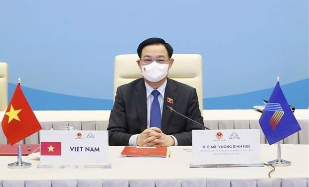 Chairman of the Vietnamese National Assembly Vuong Dinh Hue attends the closing ceremony (Photo: VNA)