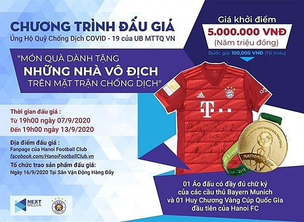 next media hanoi fc launch auction to support covid 19 fight
