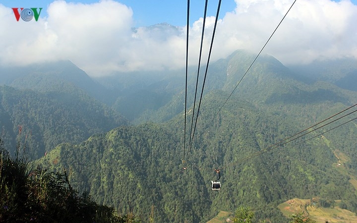 stunning beauty at the peak of fansipan in the autumn