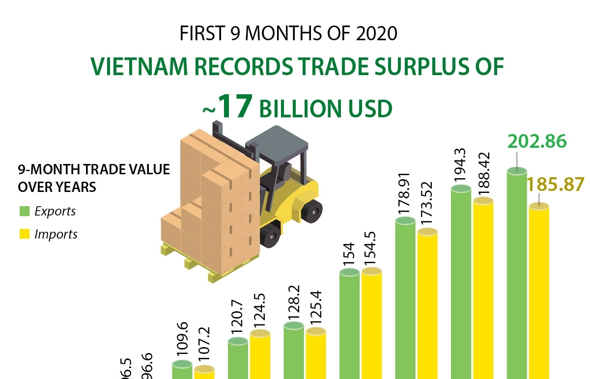 Vietnam records trade surplus of 17 billion USD in first 9 months of 2020 (Infographics)