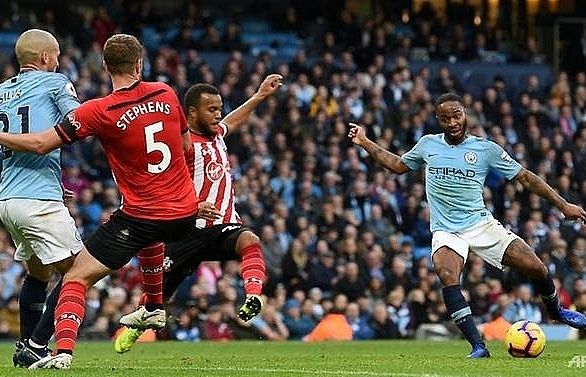 Sterling at the double as Man City hit Saints for six