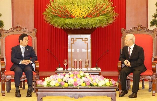 Top leader receives visiting speaker of RoK's parliament