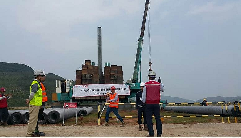 doosan drives the first pile for the nghi son 2 thermal power plant