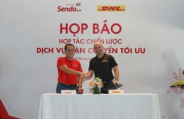 sendo shakes hand with dhl for fast delivery services