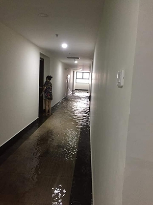 Premium Geleximco apartment building flooded by broken fire hydrants