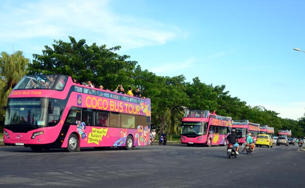 first coco bus double deckers now cruising in danang