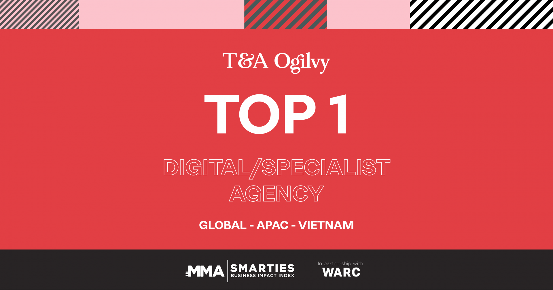 T&A Ogilvy leads Digital/Specialist Agency ranking on SMARTIES Business Impact Index