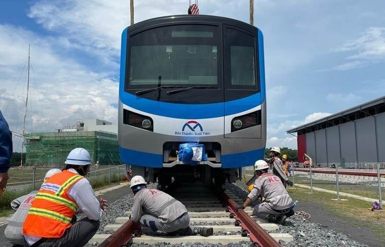 Two more Metro Line 1 trains docked at Khanh Hoi Port in Ho Chi Minh City