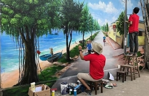 quang binh introduces the 7th mural village in vietnam